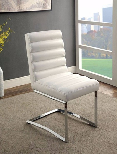 2 Homeroots White Leather Metal Side Chairs OCN-301159