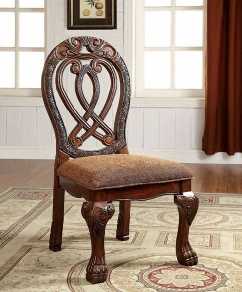 2 Homeroots Cherry Solid Wood Fabric Dining Side Chairs OCN-301167