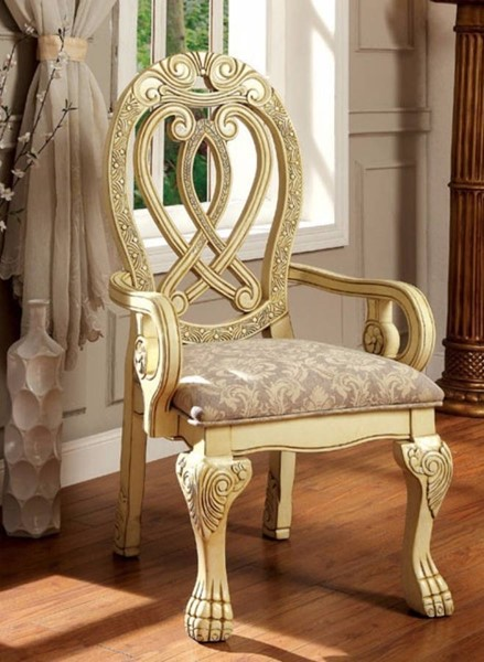 2 Homeroots Cream Solid Wood Fabric Dining Arm Chairs OCN-301168