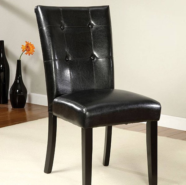 2 Homeroots Black Leatherette Dining Side Chairs OCN-301174