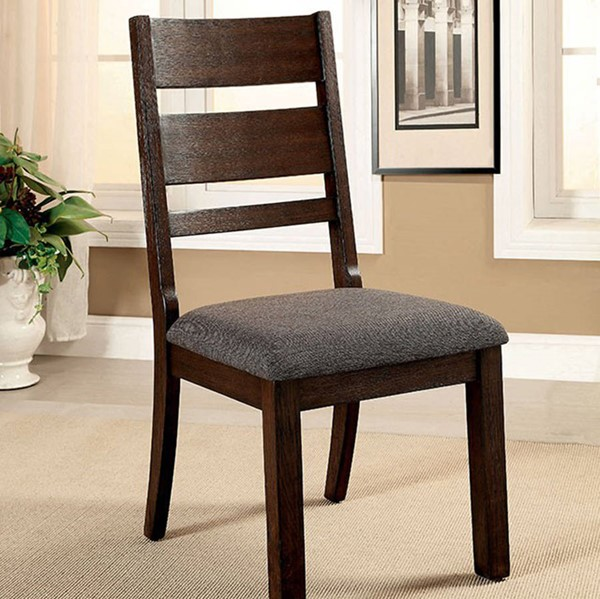 2 Homeroots Dark Espresso Solid Wood Fabric Side Chairs OCN-301175