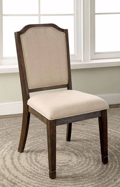 2 Homeroots Wire Brushed Brown Solid Wood Fabric Side Chairs OCN-301176