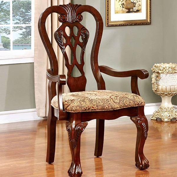 2 Homeroots Brown Cherry Solid Wood Fabric Arm Chairs OCN-301179