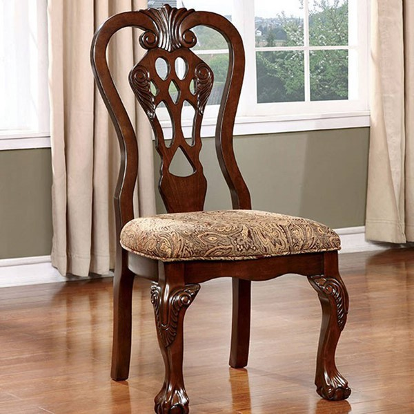 2 Homeroots Brown Cherry Solid Wood Fabric Side Chairs OCN-301180