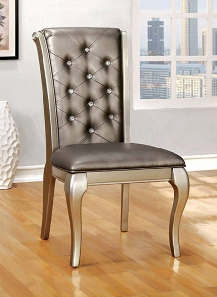 2 Homeroots Silver Fabric Solid Wood Side Chairs OCN-301185