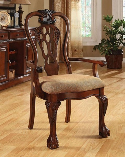 2 Homeroots George Town Cherry Solid Wood Fabric Arm Chairs OCN-301186