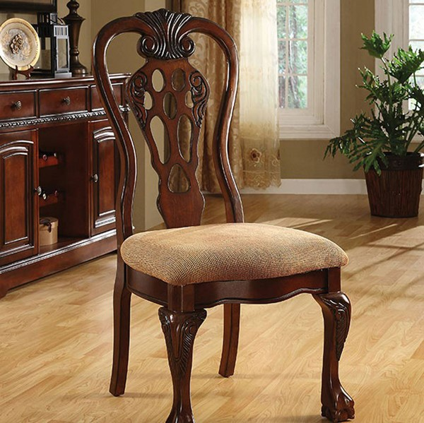 2 Homeroots George Town Cherry Solid Wood Fabric Side Chairs OCN-301187