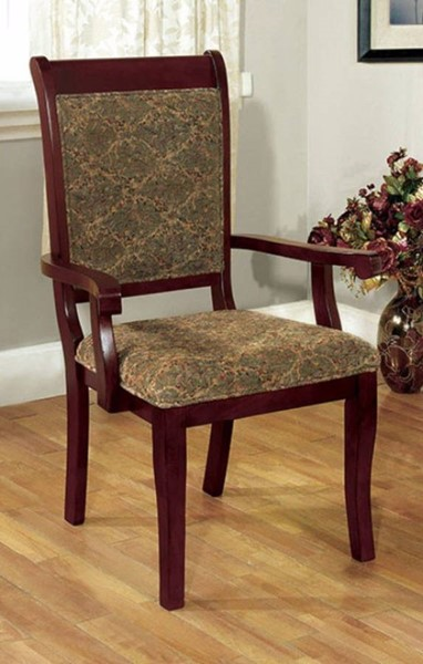 2 Homeroots Antique Cherry Solid Wood Fabric Arm Chairs OCN-301188
