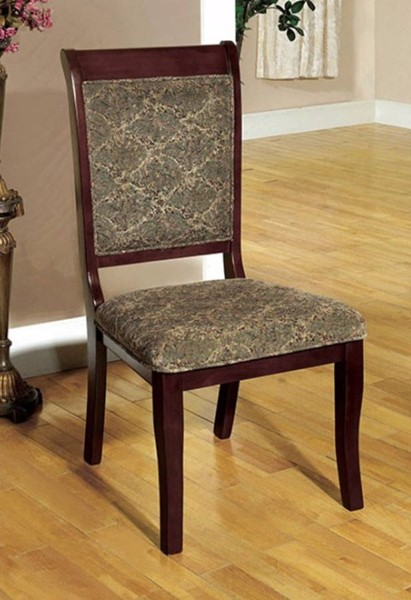 2 Homeroots Antique Cherry Solid Wood Fabric Side Chairs OCN-301189