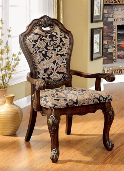 2 Homeroots Cherry Solid Wood Fabric Cushion Arm Chairs OCN-301190