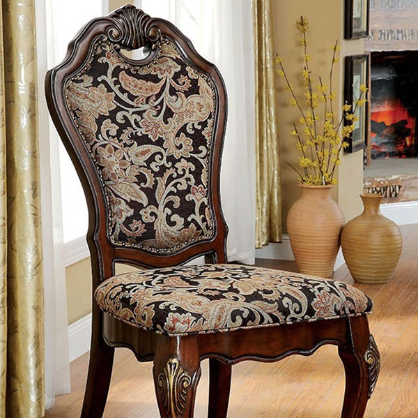 2 Homeroots Cherry Solid Wood Fabric Cushion Side Chairs OCN-301191