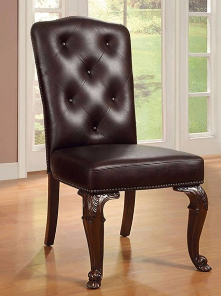 2 Homeroots Brown Cherry Leather Side Chairs OCN-301199