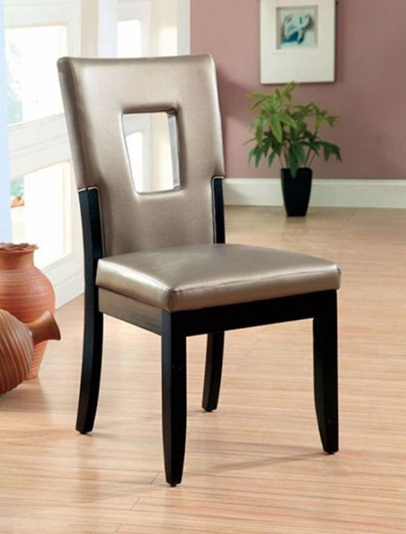 2 Homeroots Champagne Leatherette Black Solid Wood Side Chairs OCN-301202