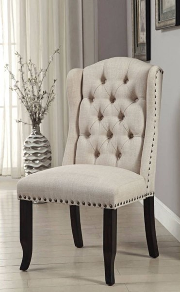 2 Homeroots Ivory Fabric Antique Black Solid Wood Side Chairs OCN-301208