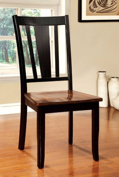 2 Homeroots Dover Black Cherry Wood Seat Side Chairs OCN-301212