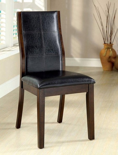 2 Homeroots Black Leatherette Dark Oak Solid Wood Side Chairs OCN-301218
