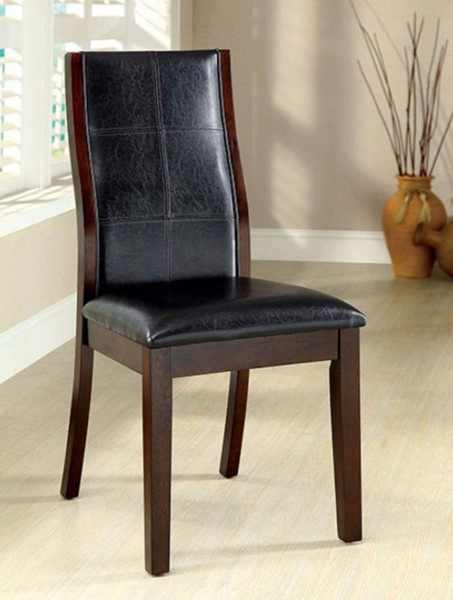 2 Homeroots Black Leatherette Brown Cherry Solid Wood Side Chairs OCN-301219