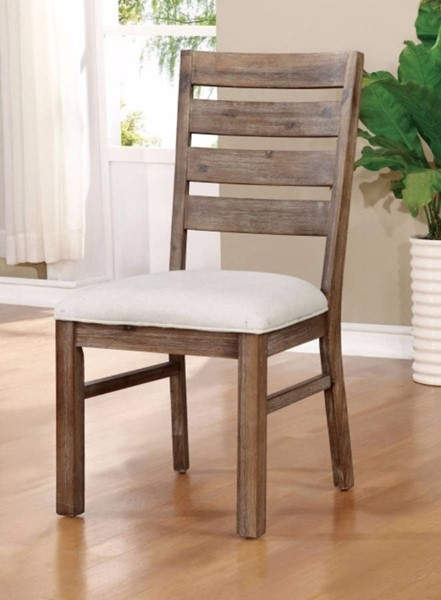 2 Homeroots Natural Tone Solid Wood Fabric Cushion Side Chairs OCN-301226