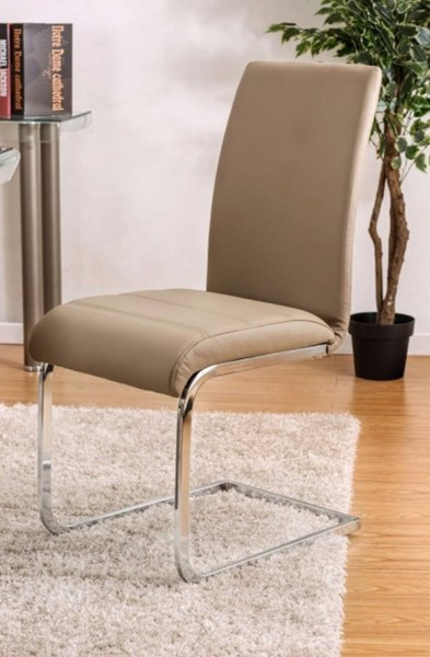 2 Homeroots Champagne Leatherette Chrome Metal Side Chairs OCN-301228