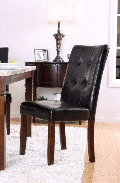 2 Homeroots Black Leatherette Brown Cherry Solid Wood Dining Side Chairs OCN-301231