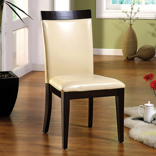2 Homeroots Ivory Leatherette Espresso Solid Wood Side Chairs OCN-301236