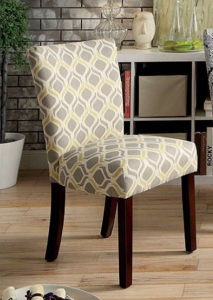 2 Homeroots Yellow Gray Fabric Ogee Pattern Side Chairs OCN-301248