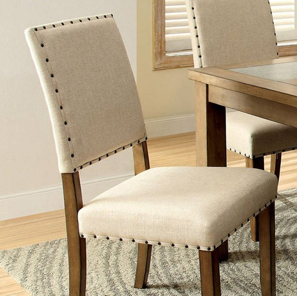 2 Homeroots Ivory Flax Fabric Natural Tone Solid Wood Side Chairs OCN-301255