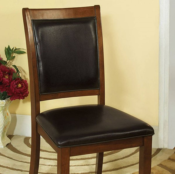 2 Homeroots Black Leatherette Brown Cherry Solid Wood Padded Side Chairs OCN-301256