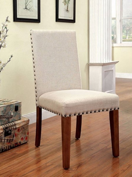 2 Homeroots Ivory Flax Fabric Natural Wood Solid Wood Side Chairs OCN-301257