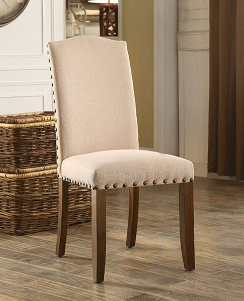 2 Homeroots Ivory Fabric Rustic Walnut Solid Wood Side Chairs OCN-301258