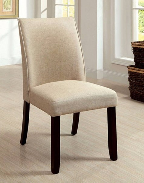 2 Homeroots Ivory Fabric Espresso Solid Wood Side Chairs OCN-301262