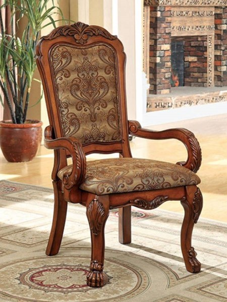 2 Homeroots Antique Oak Solid Wood Fabric Arm Chairs OCN-301263