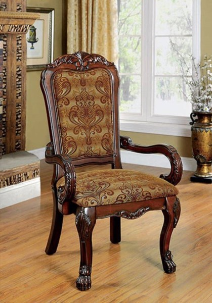 2 Homeroots Traditional Cherry Solid Wood Fabric Arm Chairs OCN-301264