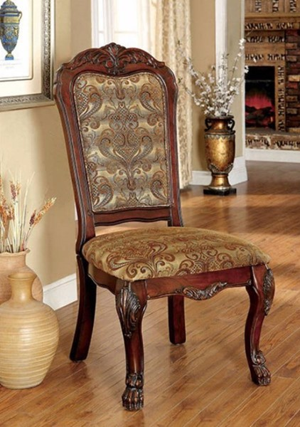 2 Homeroots Traditional Cherry Solid Wood Fabric Side Chairs OCN-301265