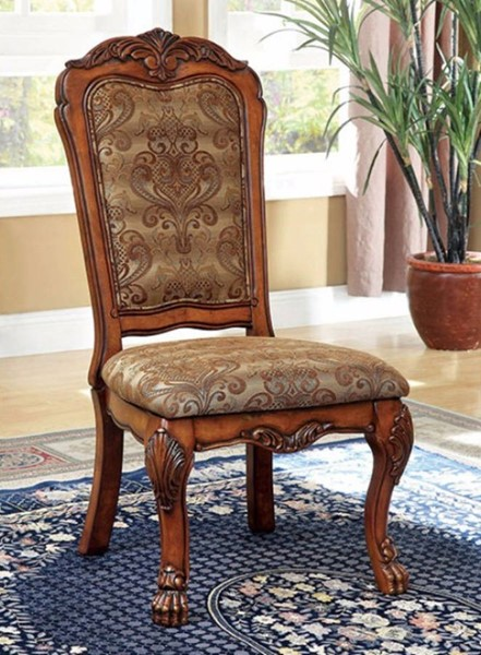 2 Homeroots Antique Oak Solid Wood Fabric Side Chairs OCN-301266