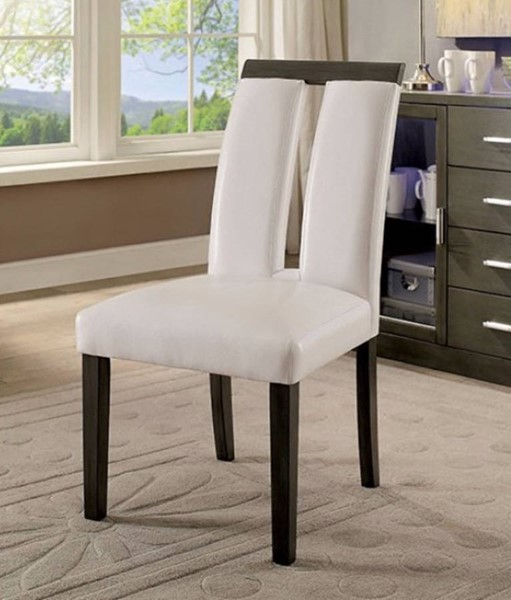 Homeroots White Leatherette Grey Solid Wood Side Chairs OCN-301269-DR-CH-VAR