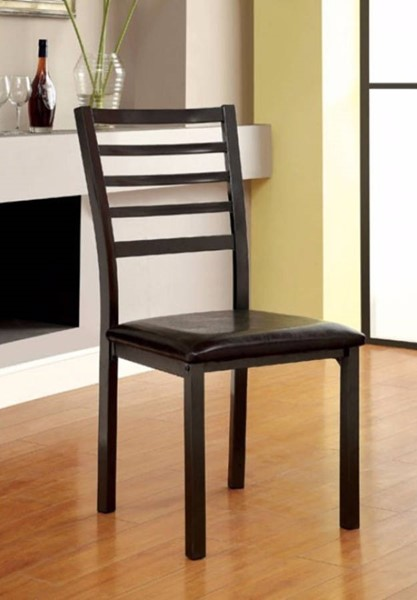 2 Homeroots Transitional Black Leatherette Side Chairs OCN-301276