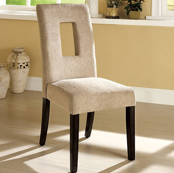 2 Homeroots Neutral Tone Fabric Espresso Solid Wood Side Chairs OCN-301280