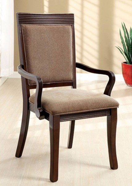 2 Homeroots Walnut Solid Wood Fabric Dining Arm Chairs OCN-301282