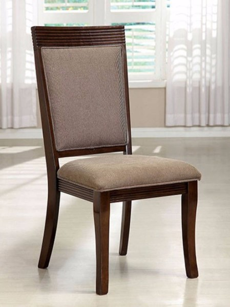 2 Homeroots Walnut Solid Wood Fabric Dining Side Chairs OCN-301283