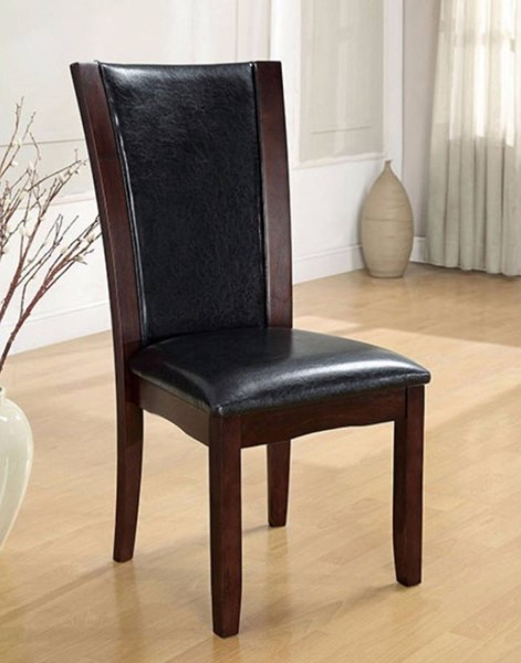 Homeroots Black Leatherette Dark Cherry Solid Wood Side Chairs OCN-301293-DR-CH-VAR
