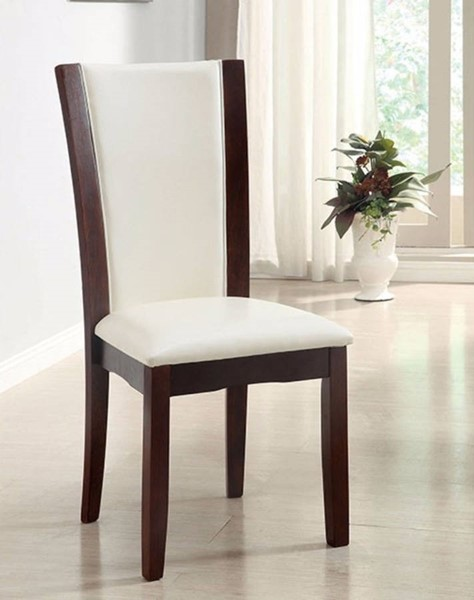 2 Homeroots White Leatherette Dark Cherry Solid Wood Side Chairs OCN-301295
