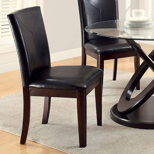 2 Homeroots Espresso Leatherette Dark Brown Solid Wood Side Chairs OCN-301303