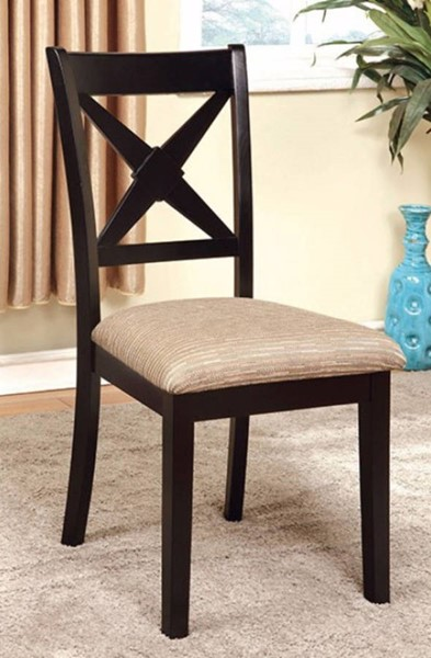 2 Homeroots Black Solid Wood Fabric Side Chairs OCN-301304