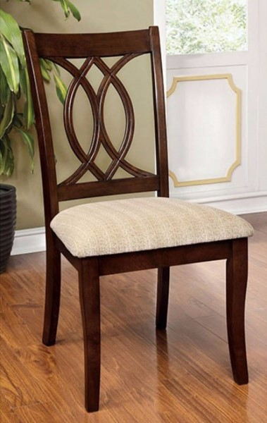2 Homeroots Tan Fabric Brown Cherry Solid Wood Side Chairs OCN-301305