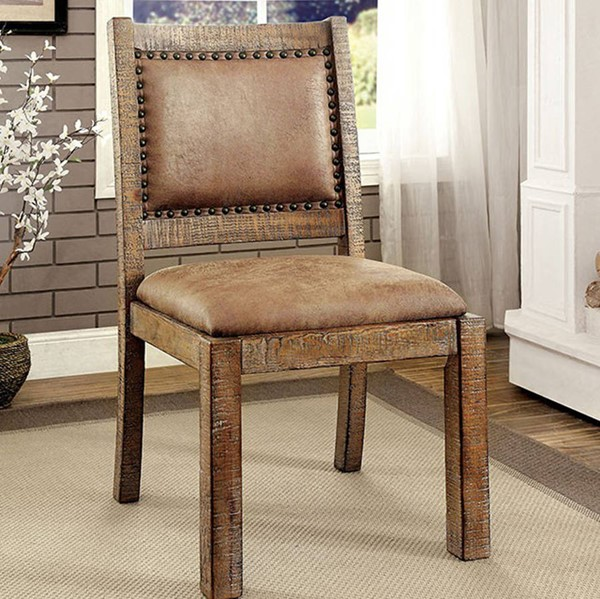 2 Homeroots Brown Fabric Solid Wood Industrial Side Chairs OCN-301318