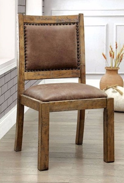 2 Homeroots Rustic Pine Solid Wood Fabric Side Chairs OCN-301319