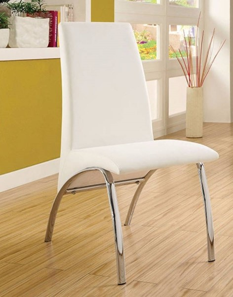2 Homeroots White Leatherette Chrome Side Chairs OCN-301339