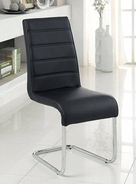 2 Homeroots Black Leatherette Chrome Dining Side Chairs OCN-301340