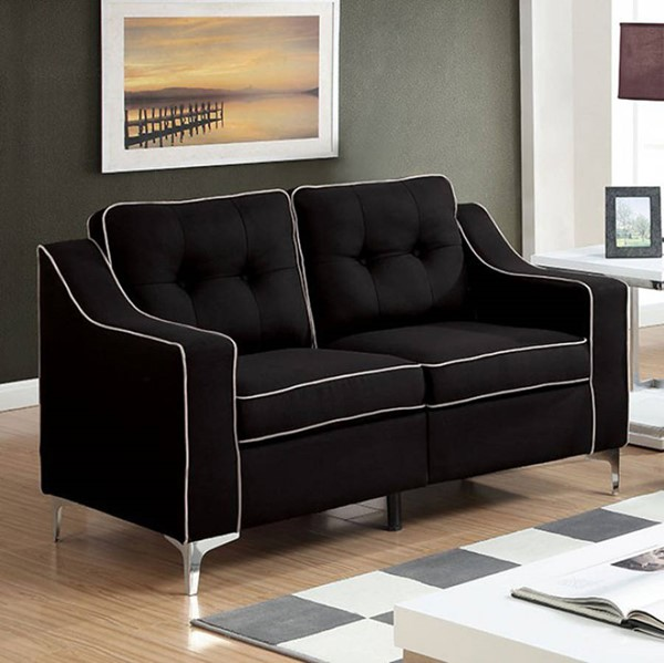 HomeRoots Contemporary Black Fabric Tufted Back Loveseat OCN-301353